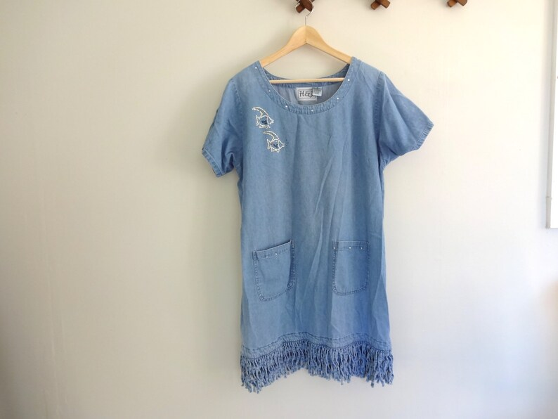 Vintage DENIM Dress  1990s Clothing Cotton Blue Jean Jumper image 0