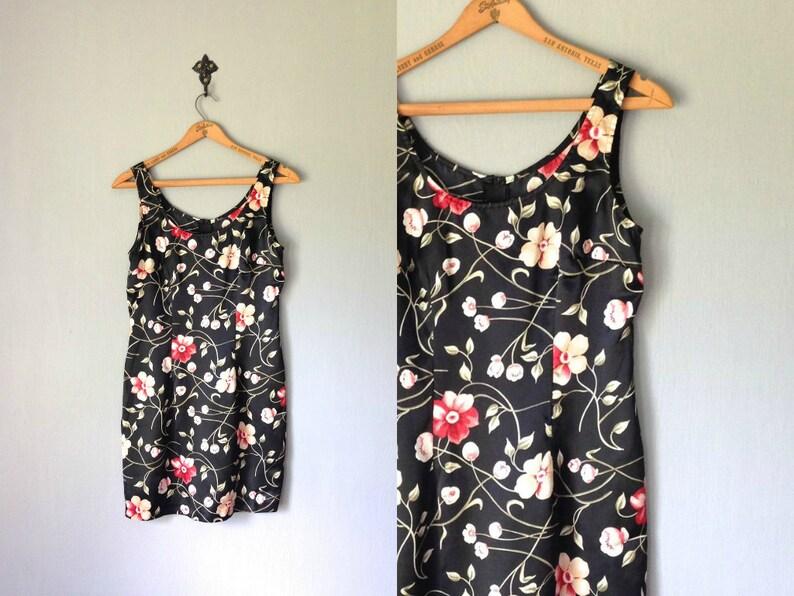 Vintage MARLOW Dress 1990s Clothing Black Floral Print image 0