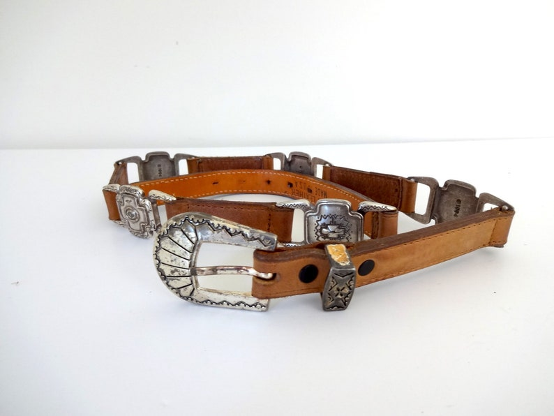 Vintage CONCHO Belt  1990s Accessories Brown Leather image 0
