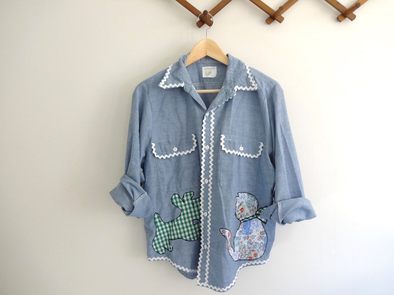 Vintage PATCHWORK Shirt 1970s Clothing  Soft Blue Chambray image 0