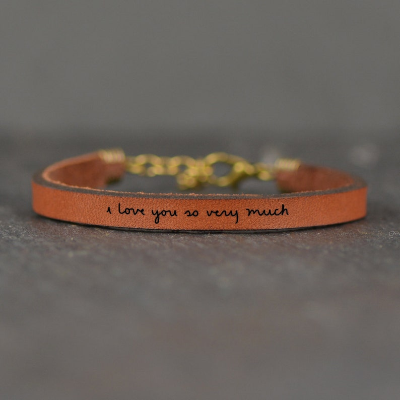 4368540c23faf I Love You So Very Much Adjustable Engraved Quote Leather Bracelet