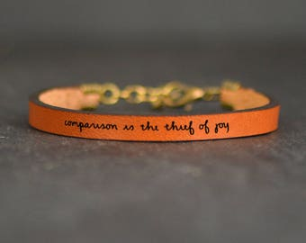 meaningful bracelet   inspiring quotes   encouragement   leather band   comparison is the thief of joy   poetry bracelet   quote leather