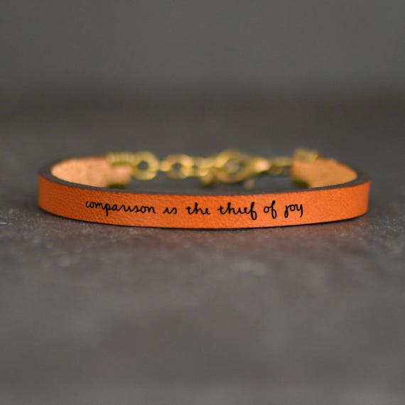 meaningful bracelet inspiring quotes encouragement leather band comparison  is the thief of joy poetry bracelet quote leather quote jewelry