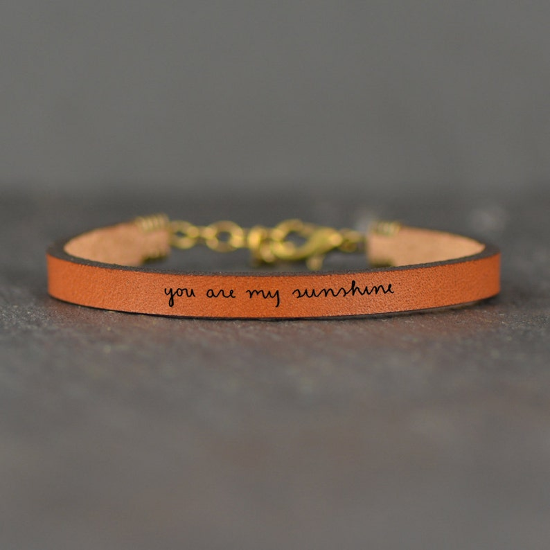 e59ff871ebd40 You Are My Sunshine Adjustable Engraved Quote Leather Bracelet