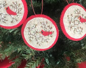 Hand Beaded Round Christmas Ornament