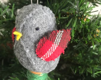Gray Felt Bird Red Plaid Wings sitting on Wooden Thread Spool Christmas Ornament / Pin Cushion Sewing Room Decor Gift for Her Ready to Ship