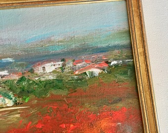European Landscape Painting- Poppies- 8 x 11-1/2 including frame-  Landscape- France- Italy Painting -Original - Ready to Hang
