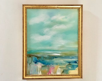 Abstract Marsh- Oil Painting- 8 x 10- Original Painting- Framed Art- Canvas Panel- Seascape- Contemporary Art