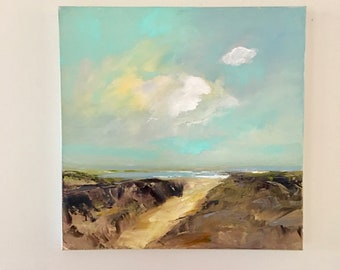Beach Painting- 16 x 16 Stretched Canvas- 1-1/2 Inch Painted Edge-  Rocky Path- Colorful Sky- Oil Painting- Original- Ready to Hang
