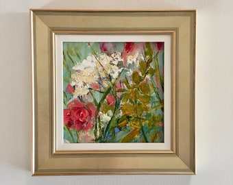 Flower Painting - Wild Garden Series - Original Painting- 8 x 8- Framed- Champagne Frame-Canvas Panel- Fine Art