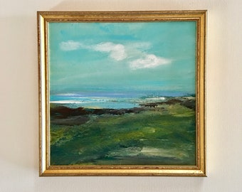 Beach by Green Hill Painting- Painting -Peaceful - Beachscape- Summer- Original - Framed Art approx. 10 x 10 including frame- Ready to Hang