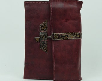 Red Leather Journal with Key