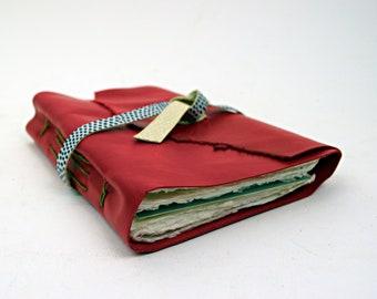 Magenta minimalistischen einfache Leder Reisetagebuch mit handgefertigten Baumwollpapier