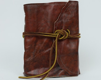 Leather Journal - Handmade paper with leather wrap closure