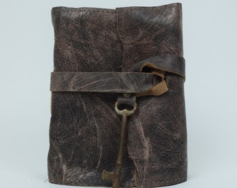 Leather Journal - Handmade paper with antique skeleton key