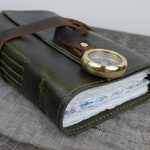 Rugged Leather Travel Journal with Compass closure
