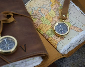 Custom Leather Travel Journals with Compass, Map, and Initials