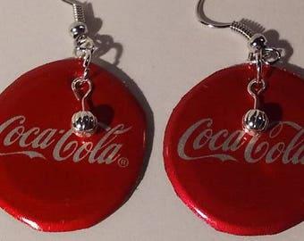 Coke Cap Earrings Recycled  Upcycled  Bottle Cap  Dangle
