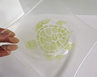 Fused Glass Plate with Turtle Decor by BPRDesigns