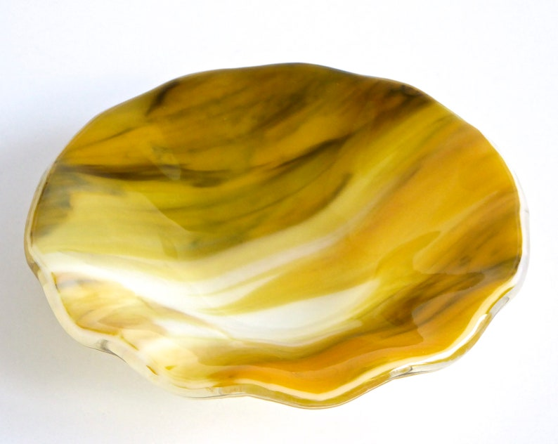 Fused Glass Bowl in Streaky Yellow White and Black by BPR Designs