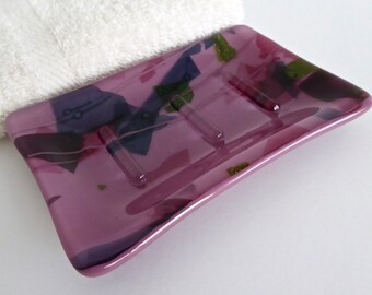 Festive Plum Fused Glass Soap Dish by BPRDesigns