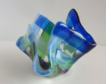 Fused Glass Votive Candle Holder in Blues and Greens by BPRDesigns