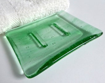 Streaky Green and Clear Fused Glass Soap Dish by BPRDesigns
