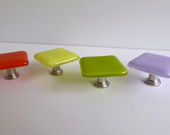 Fused Glass Cabinet Door Knobs in Lavender Yellow Orange and Green by BPRDesigns