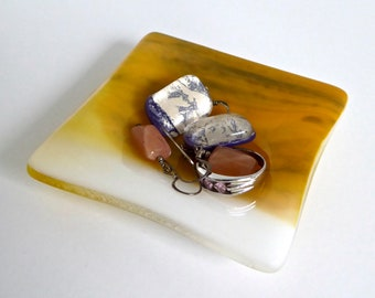 Fused Glass Ring Dish in Streaky Yellow and White by BPRDesigns