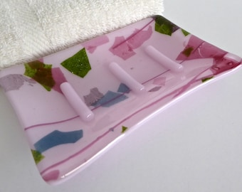 Festive Pink Fused Glass Soap Dish by BPRDesigns