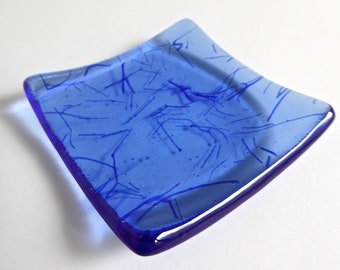 Sky Blue Fused Glass Ring Dish by BPRDesigns