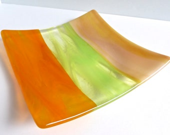 Fused Glass Plate in Streaky Citrus Stripes by BPRDesigns