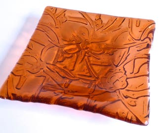 Floral Trellis Fused Glass Dish in Light Coral by BPR Designs