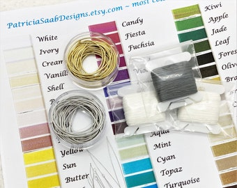 Pearl Knotting Starter Kit, Serafil Stringing Thread, Needles, French Wire, Beading Kit, Repair Beads Learn to Knot Pearls, White Ivory Gray