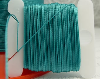 Topaz Blue Silk Like Beaders Secret Knotting Thread Beading Stringing Sewing 20 yards Polyester Card Bobbin