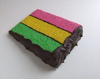 Italian Rainbow Cake Mail Card, a slice of fake postcard cake.
