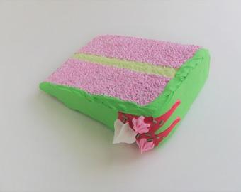 Strawberry Pistachio Cake Mail Card, a slice of fake postcard cake.