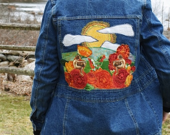 Poppies, Sunshine and Girls! Appliqué and Hand Embroidered Upcycled Denim Art Jacket