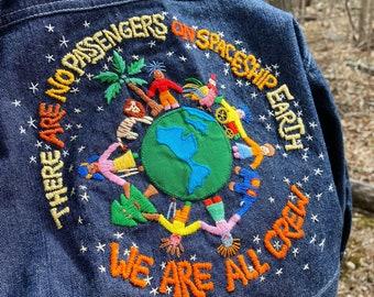 Spaceship Earth. Kids Jean Jacket. Hand Embroidered Marshall McLuhan