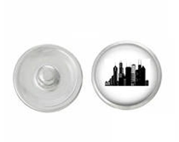 Chicago Skyline Snap - Pair with our Base Pieces - Coordinate with 18-20mm Snap Bases - Gingersnaps - Magnolia and Vine - Compatible