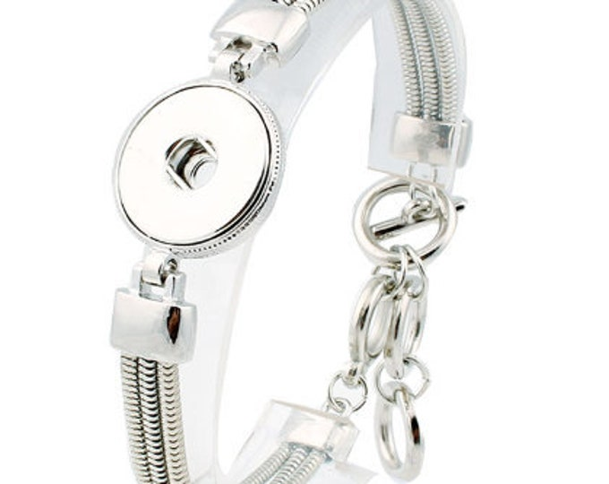 Silver Plated One Snap Adjustable Bracelet - Coordinates with 18-20mm Snaps - Ginger Snaps - Magnolia and Vine - GingerSnaps