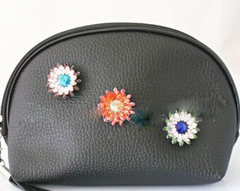 Black Cosmetic Bag with Three Snaps - 18mm Snaps - Compatible with Gingersnaps - Ginger Snaps - Magnolia and Vine - Custom Bag