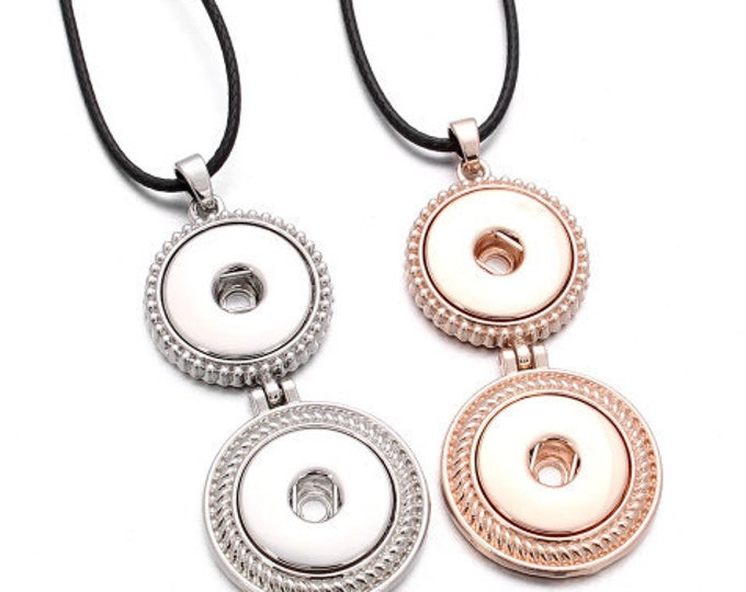 "Silver or Rose Gold Colored Two Snap Pendant with Est. I8"" Black Cord and Extender - Pair with Two Snaps - GingerSnaps - Magnolia and Vine"
