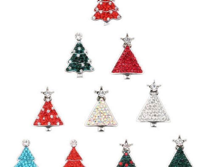 Festive Crystal Christmas Tree Interchangeable Winter Themed 18mm Snap - Compatible with GingerSnaps - Magnolia and Vine - Your Choice