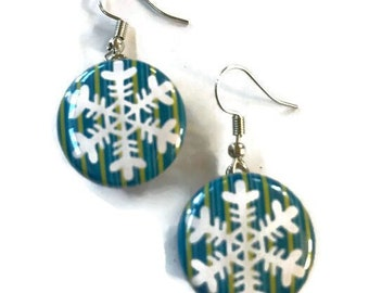 Snap Earrings - French Hook Blue Green Snowflake Snap Earrings- Compatible with Gingersnaps - Ginger Snaps -  Magnolia and Vine