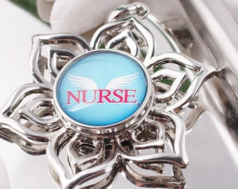 Nurse with Wings Snap - Angel Nurse Snap - Noosa Snap - Compatible with Gingersnaps - Magnolia and Vine - Noosa 18-20mm - Glass Dome Snap
