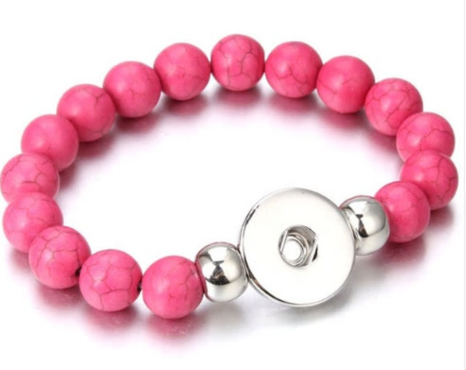 Pink Smooth Natural Stone One-Strand Bracelet - Pairs with Studio66 LLC - Gingersnaps and Magnolia and Vine 18mm Snaps - Stunning