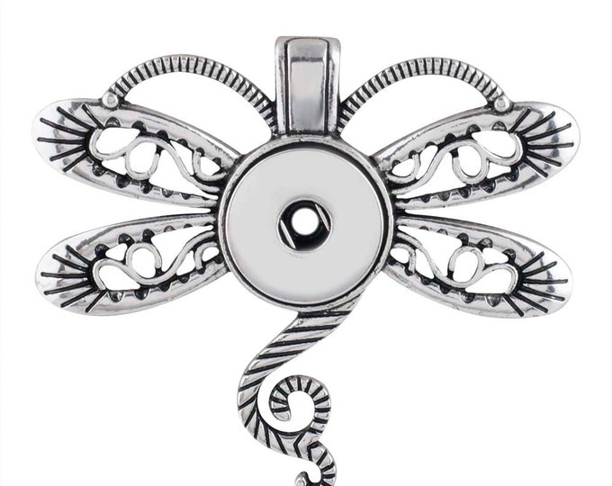 Dragonfly Pendant with Snap - Compatible with Gingersnaps - Ginger Snaps - Magnolia and Vine - 18-20mm snap Compatible - Gingersnaps