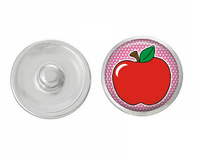 Snap for snap jewelry - red apple snap - noosa snap - interchangeable - magnolia and vine - teacher - school - education - appreciation