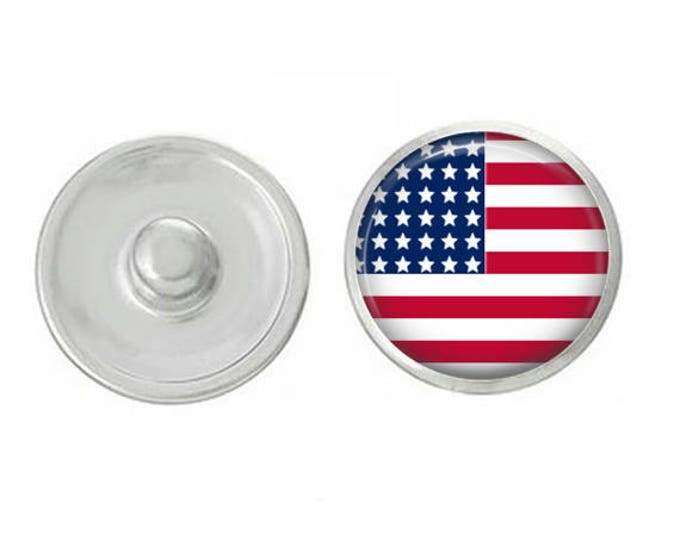 USA Flag Snap - Compatible with Gingersnaps - Ginger Snaps - Magnolia and Vine - Base Pieces - 18-20mm Snaps - Interchangeable Snap